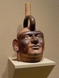 Portrait head stirrup spout vessel Moche Peru 100-500 CE Ceramic