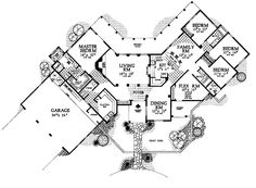 LOVE this layout...kiddos on the other side of the house...Adobe style....Home Plans HOMEPW14799 - 2,966 Square Feet, 4 Bedroom 3 Bathroom Adobe Home with 3 Garage Bays
