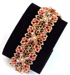 Glitzerarmband Inka in brau-orange-rot-gold