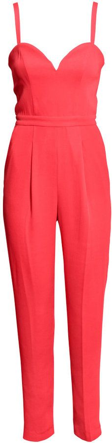 H&M - Sleeveless Jumpsuit - Coral red - Ladies - because shouldn't everyone have a hot jumpsuit to rock to that chic industry event?!