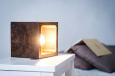 table lamp CUBE#10 handmade. dark brown. bog oak. wooden lamp. wood lamp. wooden desk lamp. wooden table lamp. desk lamp