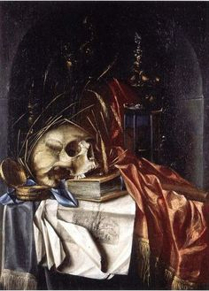 Franciscus Gysbrechts (Dutch, active ca. Title: A vanitas still life with a skull resting on a book and engravings, an hourglass and other objects on a red silk cloth in a draped niche Gothic Halloween, Halloween Design, Be Still, Still Life, Vanitas Paintings, Vanitas Vanitatum, Dance Of Death, Danse Macabre, Memento Mori