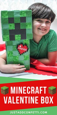 Get ready for Valentine's Day classroom parties at school with this fun Creeper Minecraft Valentine Box! What a cute valentine box idea and kids craft for Valentine's Day! Head to justaddconfetti.com for the step-by-step details and for even more cute and simple kids valentines and party ideas.