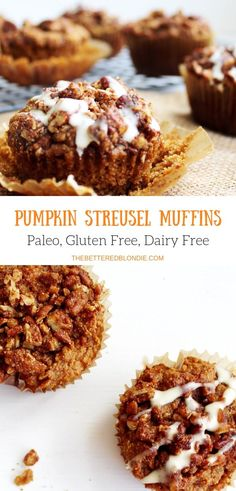 A perfect Fall treat these Pumpkin Streusel Muffins are moist and have a perfect crunchy topping with just the right amount of pumpkin spice! Muffins Blueberry, Paleo Pumpkin Muffins, Streusel Muffins, Pumpkin Recipes, Vegan Muffins, Zucchini Muffins, Gluten Free Sweets, Paleo Sweets, Dairy Free Recipes