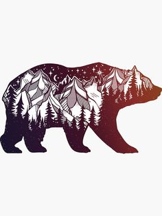 """California Bear with Mountains Landscape"" Stickers by MagneticMama Forest Tattoos, Nature Tattoos, Body Art Tattoos, Sleeve Tattoos, Gun Tattoos, Tatoos, Black Bear Tattoo, Polar Bear Tattoo, California Bear Tattoos"