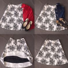 Chic  Skirt Beautiful white skirt with black floral print. You can dress it up with heels or dress it down with a cute sandals. In new condition  ✅will Bundle  ✅ ✅ all reasonable offers will be considered No Trading  Poshmark rules only‼️ Measurements taken laying flat Ⓜ️ waist 15 Ⓜ️length 25 Fabric is Cotton blend with stretch and under lining. Rubber Ducky  Skirts Midi