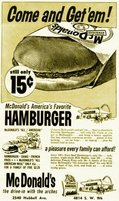 1961 Newspaper advertisement for 2 early Des Moines McDonald's - for the Hubbell and SW 9th locations.