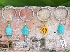 Peace & Buddha keychain