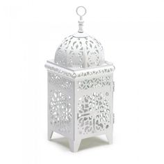 Gallery Of Light 38332 White Scrollwork Candle Lantern