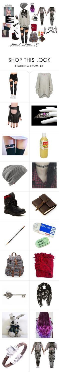 """Attack on titan oc"" by vivi-br ❤ liked on Polyvore featuring Bodhi, sOUP, Rock & Candy, Rustico, Pentel, Aéropostale, Woven Workz, WALL, Alexander McQueen and Ciel"