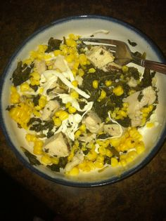 Day 25! Mixed greens, corn, chicken and cheese! Yum!