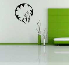Wall Vinyl Sticker Decals Art Mural Howling Wild Wolf And The Moon K791