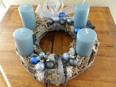♥ edler Adventskranz in Blau/Grau ♥