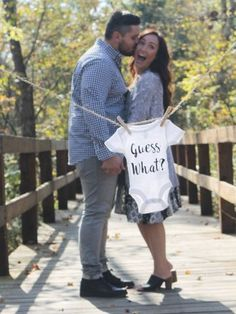 Items similar to Guess What? Onesie Pregnancy Announcement // Infant Bodysuit for Baby // Miracle Birth // Gifts for Newborn // Newborn Onesie // Baby Birth on Etsy Cute Baby Announcements, Baby Announcement Pictures, Pregnancy Announcement Photos, Pregnancy Photos, Future Maman, Future Baby, Kids News, Pregnancy Information, Maternity Pictures