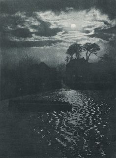Otto Scharf, Moonlight, 1900.