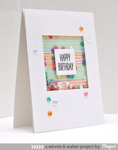 ©Candles in the Garden. Winnie and Walter JAN15 Release. Scenery: Stripes.   Happy birthday shaker card