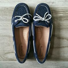 Sperry Top-siders Blue with sparkles.  New condition.  Originally $90 Sperry Top-Sider Shoes Flats & Loafers