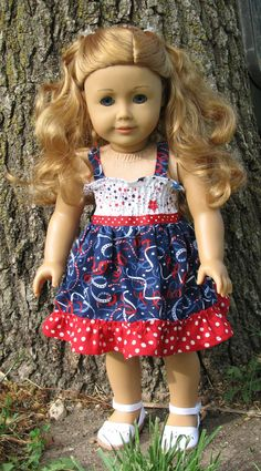 """American Girl Doll Clothes / 18"""" Doll Clothes -  4th of July Sundress"""