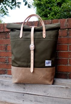 Items similar to Waxed Canvas Roll Top Rucksack Backpack Option - Leather Straps/Handles/ Waxed Canvas Bag -Large Olive/British Tan Bag Perfect for Traveling on Etsy Rucksack Backpack, Canvas Backpack, Canvas Tote Bags, Leather Backpack, Messenger Bag, Tan Bag, Best Wallet, Produce Bags, Linen Bag