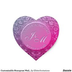 Shop Customizable Monogram Wedding Seal Hot Pink created by GlitterInvitations. Glitter Invitations, Monogram Wedding, Art Reproductions, Make Your Own, Seal, Hot Pink, Stickers, Design, Pink