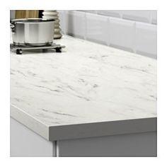 EKBACKEN Benkeplate, hvit marmormønstret - hvit marmormønstret - 186x2.8 cm - IKEA