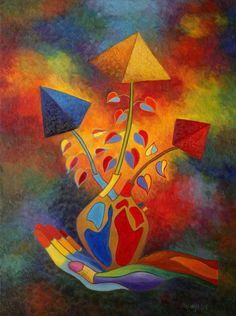 """Saatchi Art Artist Stefan Silvestru; Painting, """"A gift from the heart"""" #art #love #romantic #heart"""