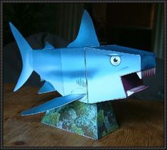 Animal Paper Model - Shark Free Template Download - http://www.papercraftsquare.com/animal-paper-model-shark-free-template-download.html