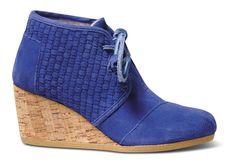 Blue TOMS+ Basket Weave Women's Desert Wedges
