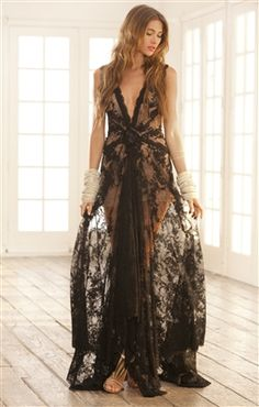 Alexis LILLIAN deep Vneck long trillium lace gown in black with rose detail