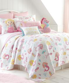 Decorate her room in sweet sea-inspired style with this whimsical quilt set boasting an adorable mermaid motif. Includes quilt and two shams (twin sizes include one sham)100% cottonMachine wash; tumble dryImported