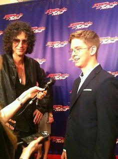 Jacob cracking jokes with Howard. America's Got Talent /