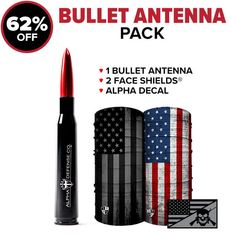 """TODAY'S OFFER $25.99 PACK INCLUDES: ✓ 1 Alpha Defense Bullet Antenna ($25.99) ✓1 Face Shield™($19.99) ✓1 Face Shield™($19.99) ✓1 Alpha Decal($4.99) Bullet Antenna Details: .50 Cal Bullet Shaped Aluminum 5″ Antenna – Fitment will fit MOST makes & models of screw on antennas (OEM Factory Threaded Antenna).Kit will Include (1) 5"""" Bullet Antenna and a set of adaptor screws. Please refer to adapter screws diagram to confirm compatibility. *Installs in minutes without special tools.* Materi Tactical Pen, Utility Trailer, Car Gadgets, Cool Things To Buy, Bullet, Packing, Fashion Suits, Mens Fashion, 67 Camaro"""