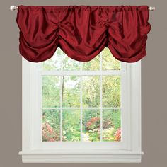 This faux-silk window valance adds a touch of elegance to your window treatment. It accentuates your window panels with its rich red color and silky, ruffled fabric. The valance is easy to install thanks to its convenient 3-inch rod pocket.