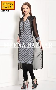 Grey & Black Georgette Kurti @ MeenaBazaar