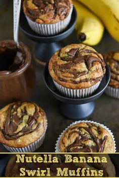 Nutella Banana Swirl Muffins: you just need one-bowl and 30 minutes to make these ultimate banana muffins! #Nutella #Banana #Muffins