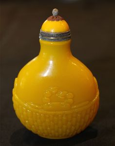 Imperial Snuff bottle Yellow glass
