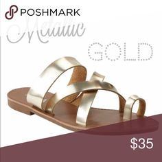 Metallic Gold Sandals Classic go to metallic gold strappy sandal. Perfect for casual or dressy look. Pair with maxi dresses or any casual spring summer look. Easy metallic gold color to match anything. Threads & Trends Shoes Sandals