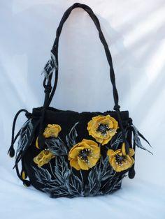 Wool bag shoulder bags bag poppies nunofelt bag black bag