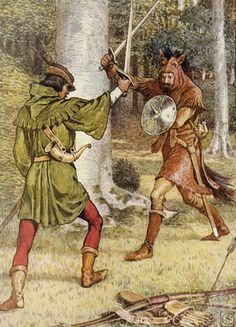 Robin Hood and Guy of Gisborne fighting by Walter Crane - print
