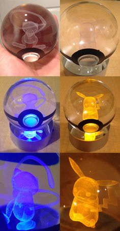 enigmacub:  jaycubsworld:  shutupandtakemyyen:  LED Pokeball with Pokemon Inside  Light up your room the way a true Pokemon Master would with a truly unique piece of art. LED light shines through the crystal Pokeball - illuminating the 3D laser-sketched Pokemon trapped inside. Guaranteed to impress any Pokemon fan.