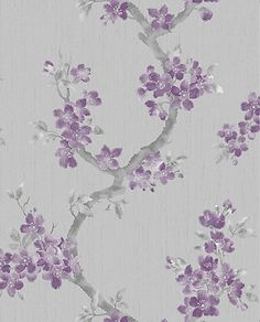 Refined floral trail design with a subtle textured sheen adds opulence to your home. Purple and grey motif on a pale grey background with silver glitter. With its textured surface, this wallpaper is easy to hang and provides a tactile finish. It is suitable for most rooms with the exception of kitchens and bathrooms.