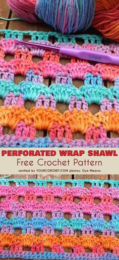 Perforated Wrap Shawl Free Crochet Pattern #freecrochetpatterns #crochetstitch #crochetshawl