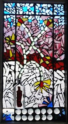 Flower Vase Mosaic Stained Glass Window - Flower Vase Mosaic Stained Glass Window This beautiful stained glass vintage wooden window is 29 - Stained Glass Tattoo, Stained Glass Cookies, Stained Glass Door, Stained Glass Ornaments, Stained Glass Birds, Stained Glass Christmas, Fused Glass, Flower Vases, Flowers