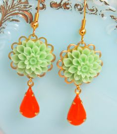Vintage Citrus Orange Pear Shaped Stone Drops and by heathernn1, $21.00
