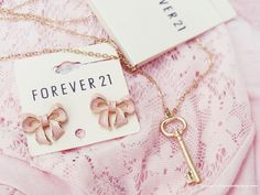 Forever 21 Accessories.  I got that Key Locket Chain. Simply love them both ♥ bow earrings