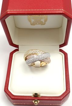 1stdibs.com | CARTIER Large Model Trinity Diamond Tri-Color Gold Band Ring