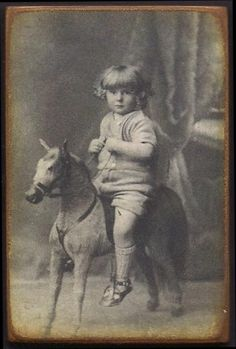 Little boy and his toy horse
