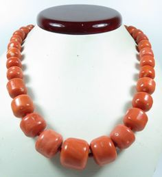 HUGE CHINESE GENUINE SALMON MOMO CORAL BEAD NECKLACE 116.5 GRAMS
