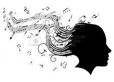 Konzeptionelle Illustration einer Frau Kopf im Profil mit Haaren zu Musiknoten Noten Stockfoto