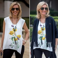 Check out our Yellow Poppy and Butterfly Graphic Top and Black Asymmetrical Cardgian with Fringe - Both featured on my blog and part of our Weekend Flash Sale. . Use code FS324 to get 15% off all featured pieces plus Free US Shipping www.jacketsociety.com